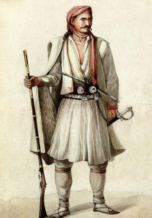 Südalbanischer Krieger, von Joseph Cartwright, 1822.